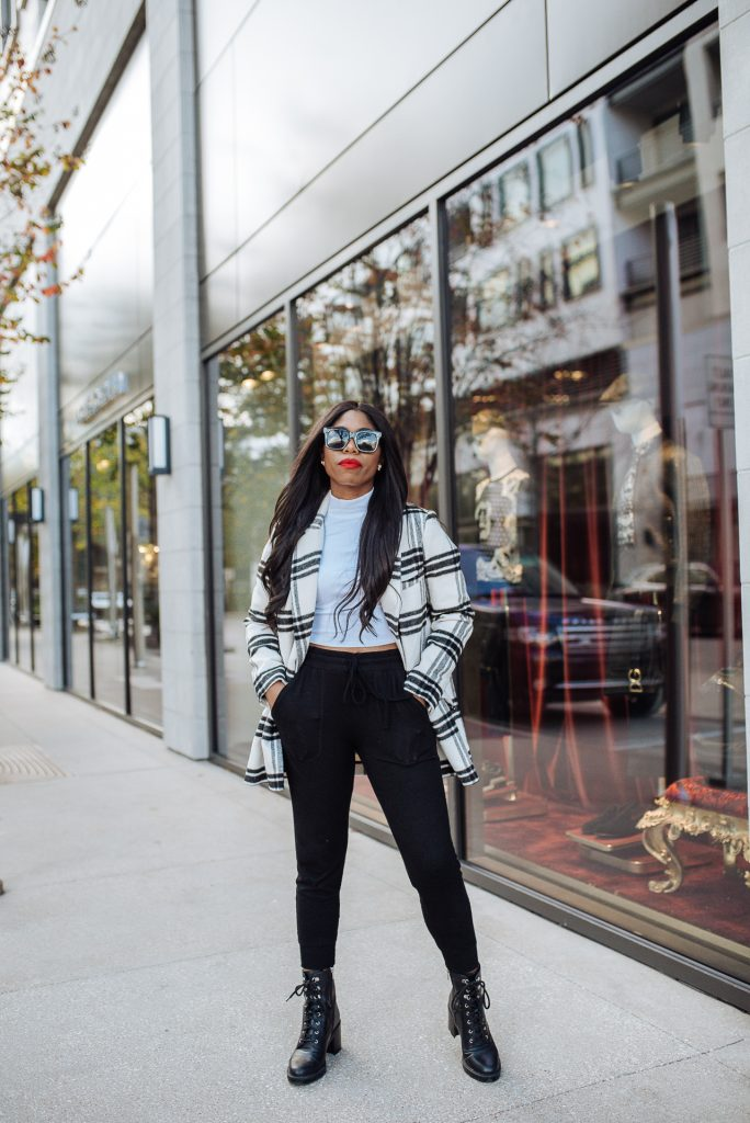 winter travel outfits, winter fashion, winter outfits, plaid coat, black women with style, steph taylor jackson