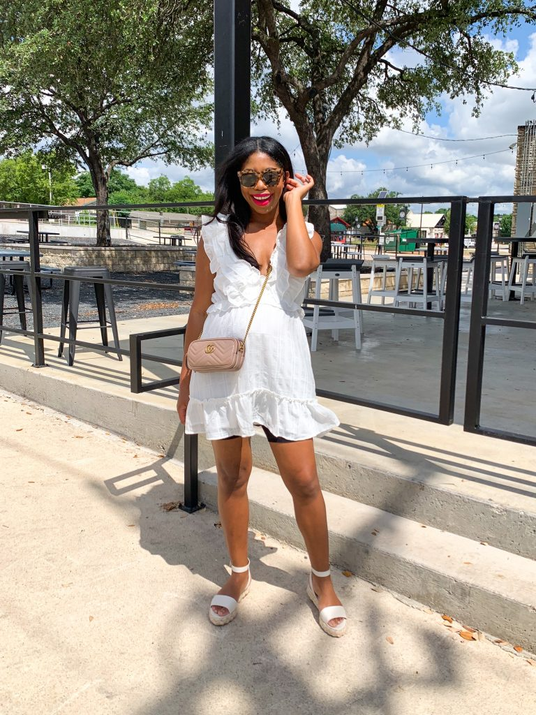 white ruffle dress, red dress boutique